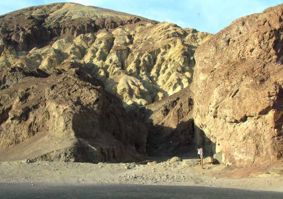 Entrance To The Golden Canyon As Viewed From Badwater Road In Death Valley