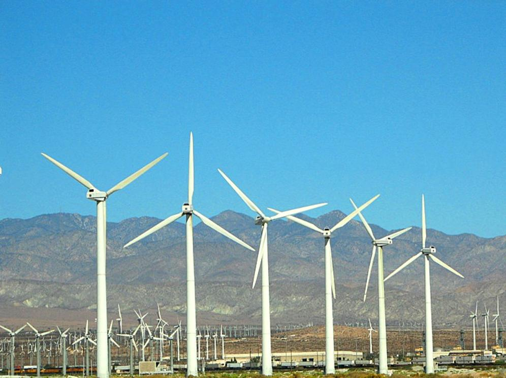 Huge Forest Of Giant Wind Turbines Near Palm Springs In